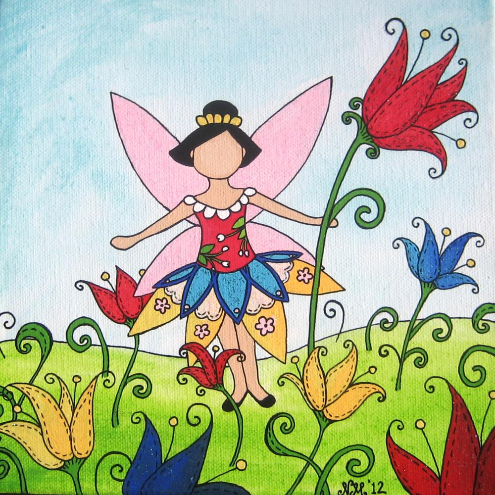 Spring Tulip Fairy Original Watercolor Painting